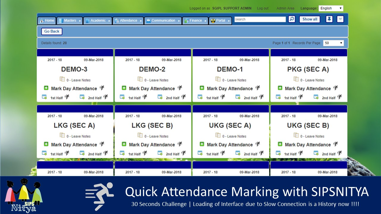 Quick Attendance Marking Interface to ease the task