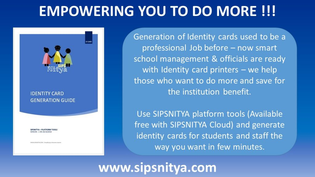 sipsnitya, id card software, school identity cards, college identity cards