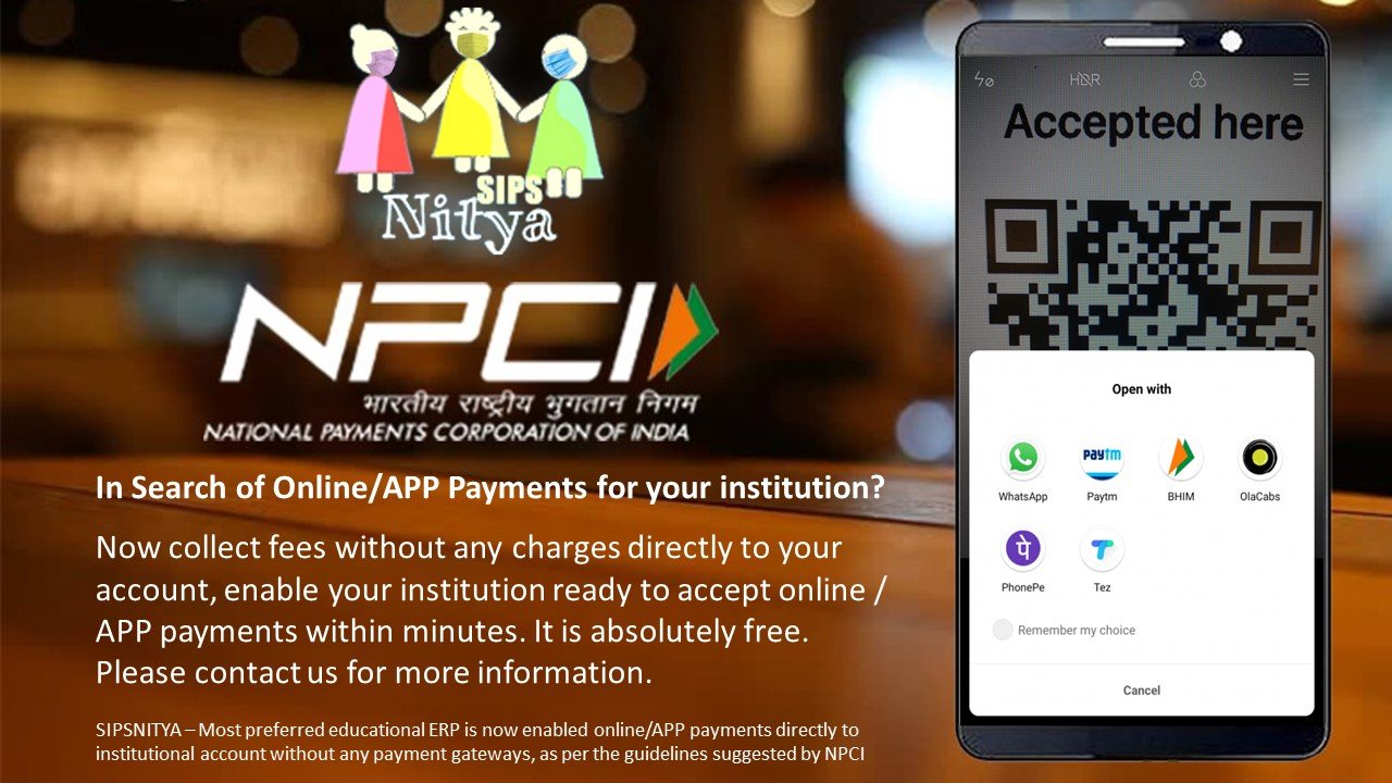 Online Fee collection at no extra cost/charges directly to account