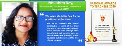 SIPSNITYA Salute Ms. Ishita Dey, National Award Winner Tarapore School